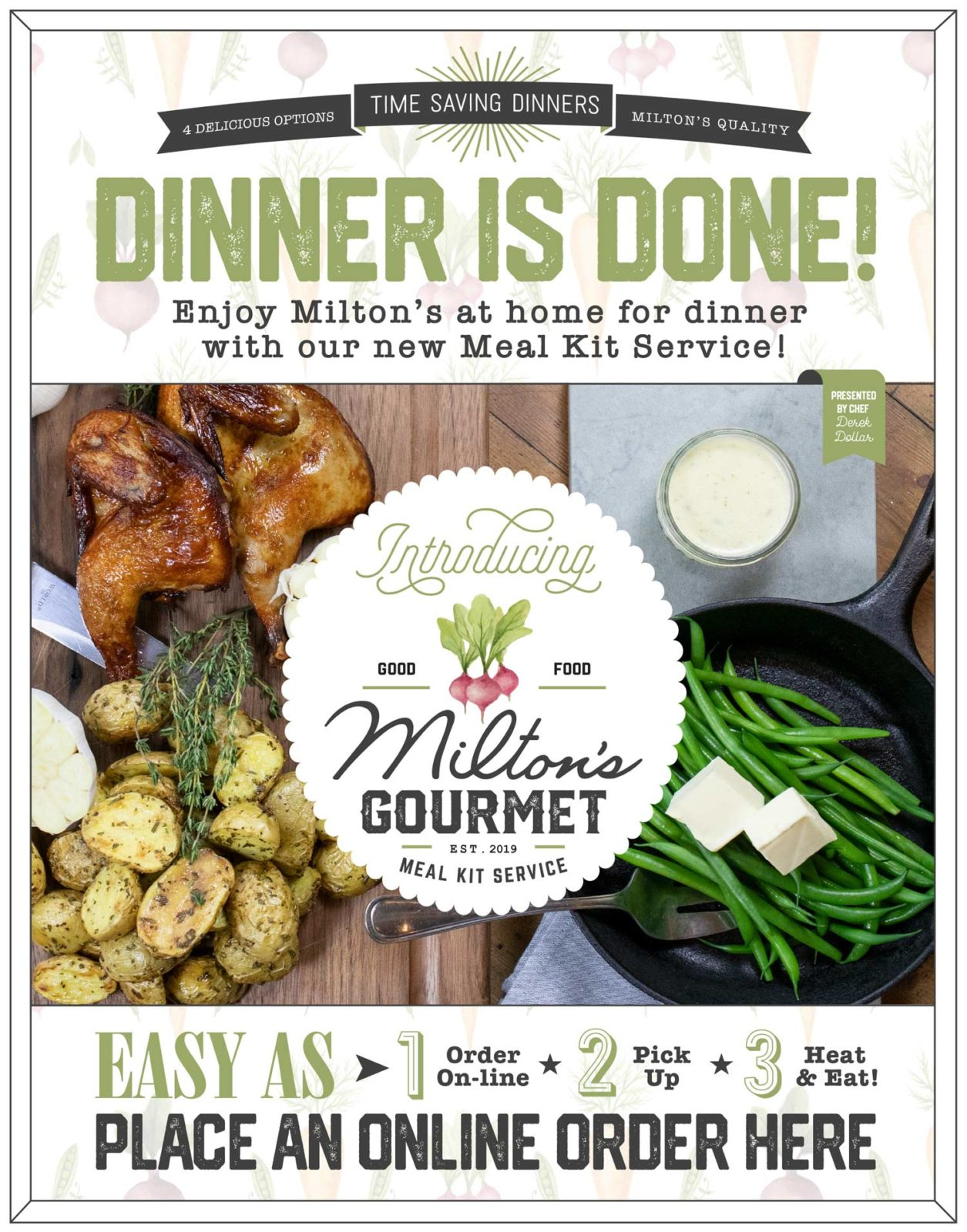 Ad page for Miltons Meal Kit Service