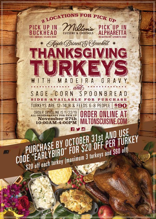 Ad for Miltons Cuisine Thanksgiving Turkey offer