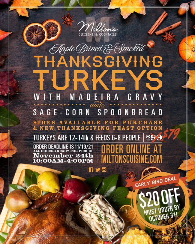 Thanksgiving flyer for Miltons Meals